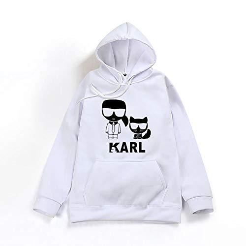 DHXYY Karl Lagerfeld Hoodie Sweatshirt Sport Sweater Jugend Sweatshirt Unisex Sweatshirt Freizeit Sweatshirt,Weiß,XXL