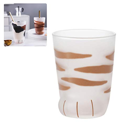 WINBST Cat Paw Glass Cup Katzenkaffee Mug Wall Glas Cup Breakfast Milk Cup Heat resistent Handmade Milk Mug Tea Whiskey Glass Cup Present Tassen Valentines Gift