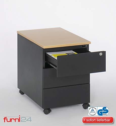Rollcontainer Schreibtischcontainer 3 Schübe Farbe schwarz RAL 9005 pulverbeschichtet