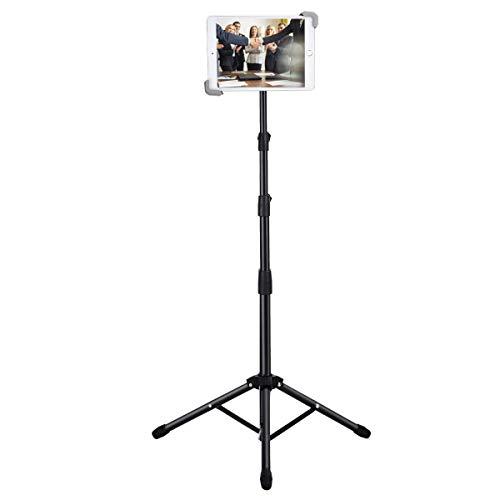 Soporte de trípode para iPad, Soporte de Suelo, Altura Ajustable, 7.9-12', Giratorio 360 °