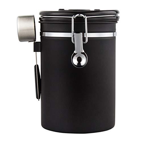コーヒーキャニスター 1800ml 保存容器 ステンレス製 密封容器 茶筒 日付表示ダイヤル 防湿保存缶 コーヒー豆 茶の葉 お菓子 砂糖 香料 スナックに適用 (黒)