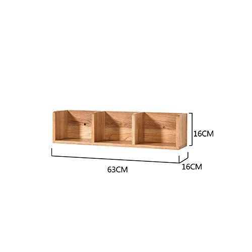Étagères murales en bois massif chambre TV murale salon coin coin coin coin chêne moderne simple (taille : 63 * 16 * 16cm)