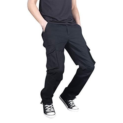 Freizeithose für Herren,Leichte Hose,Seitentaschen,Einfarbige Freizeithose,Neuer Stil im Freien Multi-Pocket Overalls Straight Sporthosen M-3XL