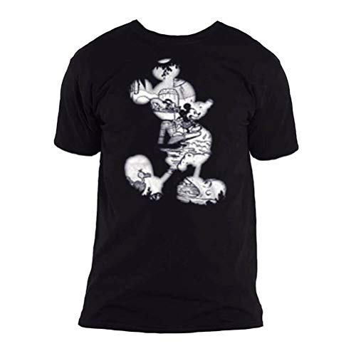 T-Shirt # L Unisex Black # Mickey Mouse Vintage Infill [Import]