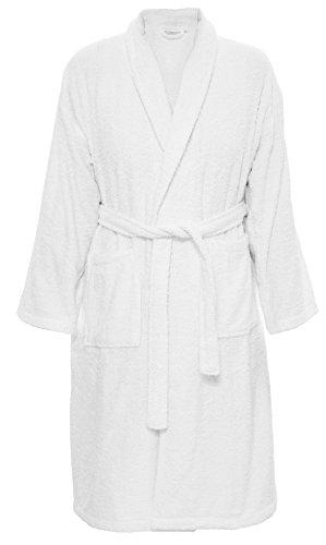 Carenesse Badjas voor hem & haar, XL 100% katoen, sjaalkraag, 2 zakken, riem, kleur wit ochtendjas huisjas