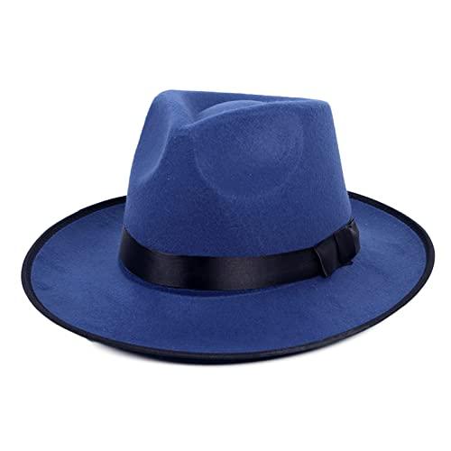 Sombrero de Jazz Gorra Fieltro Trilby Gorra Fedora Retro con ala Ancha para Fiesta Viaje Mujer Hombre, Blue,