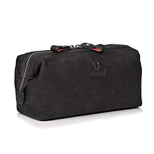 DONBOLSO® Kulturbeutel Kopenhagen I Leder Kulturtasche für Damen und Herren I Hochwertige Kosmetiktasche für Urlaub & Reise (Schwarz Vintage)