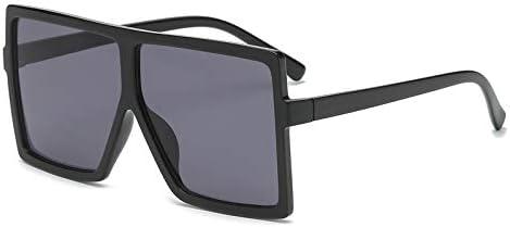 GRFISIA Square Oversized Sunglasses for Women Men Flat Top Fashion Shades matte black gray lens product image