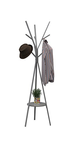 Homebi Coat Rack Hat Stand Free Standing Display Hall Tree Metal Hat Hanger Garment Storage Holder with 9 Hooks for Clothes Hats and Scarves in Black,17.72'Wx17.72'Dx70.87'H (Grey)