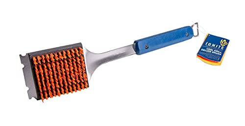 Ignite Stainless Steel Cool Grill Brush | Durable & Effective with Safe Nylon Grill Bristles | No Risk of Broken Wire bristles | Safe for Porcelain, Ceramic, Steel, & Iron Grates | Best Grill Cleaner