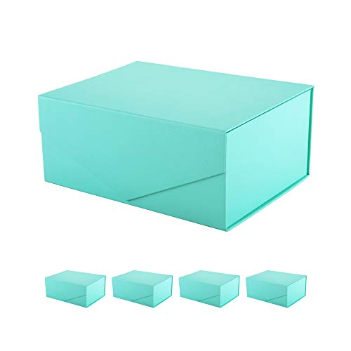 PACKHOME 5 Gift Boxes 9.5x7x4 Inches, Bridesmaid Boxes, Rectangle Collapsible Boxes with Magnetic Lids for Gift Packaging (Matte Turquoise, Grid Pattern