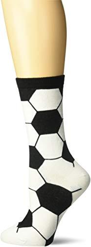 K. Bell Women's Fun Novelty Crew Socks, White (Soccer Ball), Shoe Size: 4-10