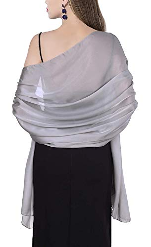 Soft Silky Pashmina Shawl Sheer Wrap Scarf Stole in Solid Colors Silver Grey