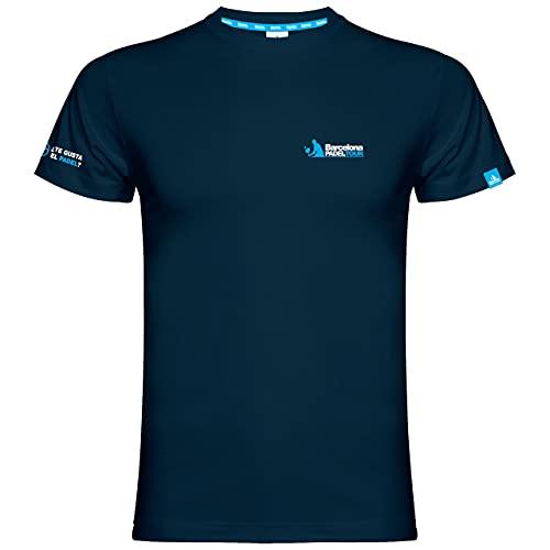 Barcelona Padel Tour | Camisetas Casuales | Manga Corta | Color Azul Marino | Camisetas Deportivas Cómodas y Elegantes | Ropa de Pádel de Algodón M