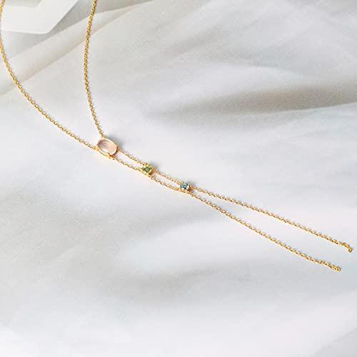 LOKILOKI Collar De Plata 925 para Mujer, Cuarzo Rosa Natural, Topacio, Olivino, Collar con Borla Sexy, Joyería Fina Chapada En Oro De 14 K Lmni101