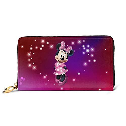 Minnie Mouse Cartera RFID de piel auténtica con cremallera para tarjetas y organizador