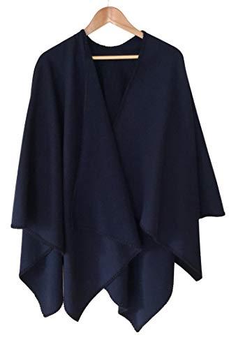 Alpenwolle Damen Poncho, Cape, Schal XXL, 100% Wolle, Farbe Marine