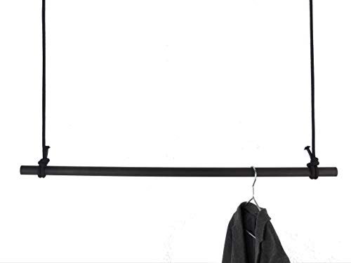 Kleiderstange Holz 100 cm - schwarz mit Seil - sehr stabil - Garderobe Deckenbefestigung Hängegarderobe 1m