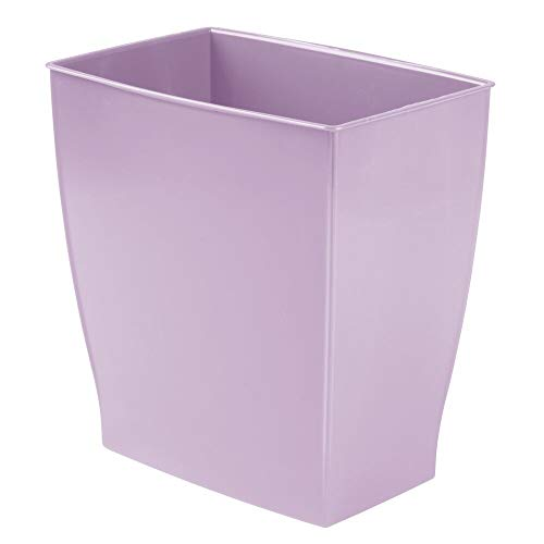 mDesign Rectangular Trash Can Wastebasket, Small Garbage Container Bin for Bathrooms, Powder Rooms, Kitchens, Home Offices - Shatter-Resistant Plastic - Wisteria Purple