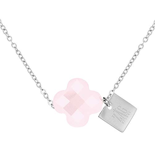 Zag Bijoux Faceted Clover Necklace Pink (Silver)