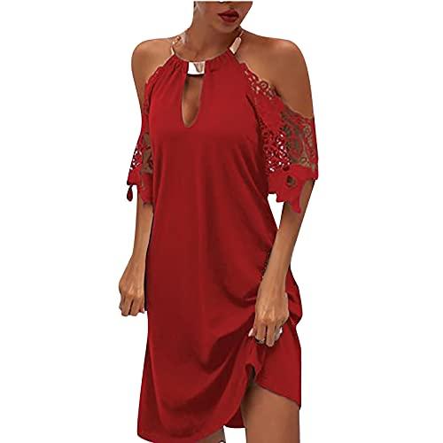 Vestido de mujer Venta Liquidación Señoras Encaje Manga Corta O-Cuello Halter Sólido Vestidos Largos Sueltos Vestido Fiesta Elegante Tamaño Reino Unido