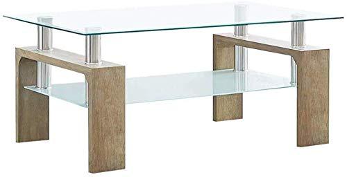 Mesa de centro rectangular de cristal para sala de estar con mesa de centro moderna y pequeña mesa de centro con almacenamiento de mesa de centro (roble con vidrio templado transparente)