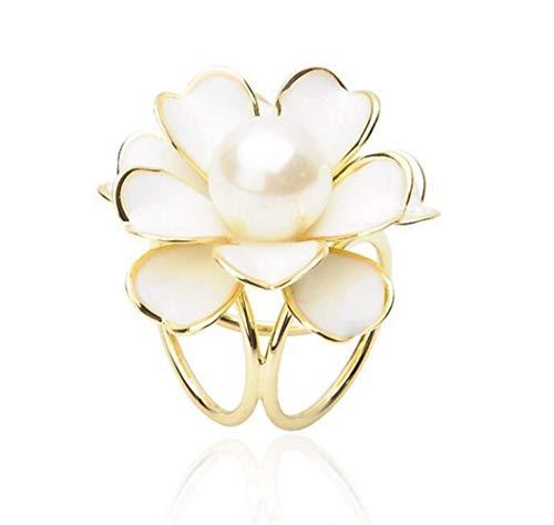 Miss charm Haute Qualité Camellia Trois Anneaux De Mode Imitation Perle Écharpe en Soie Écharpe Rack Broche Clip Bijoux
