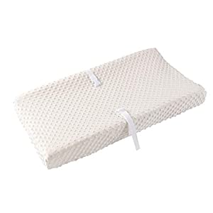 """crib bedding and baby bedding baby changing pad cover, super soft minky dot diaper changing table covers for baby girls and boys, ultra comfortable, safe for babies, fit 32""""/34'' x 16"""" pad (beige)"""