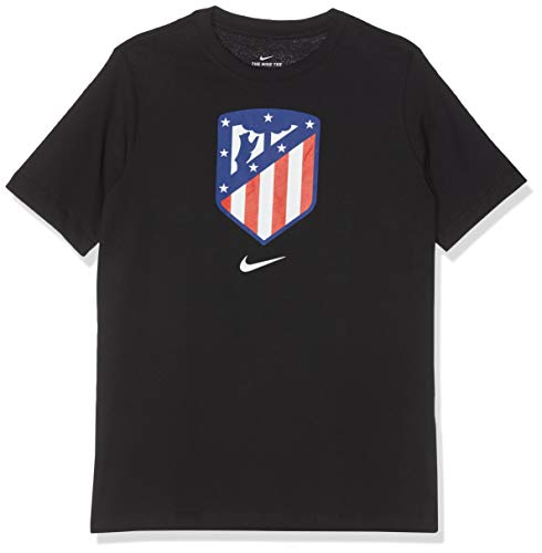 NIKE Atlético Madrid tee Camiseta de Manga Corta, Niños, Negro (Black), XS