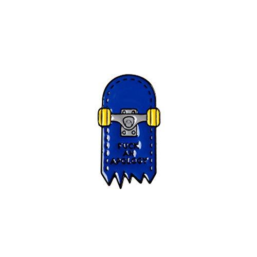 JPOYT * Couple De Dessin Animé De Mode Européenne Et Américaine Bleu Et Rouge Combiné à Quatre Roues Skateboard Forme Broche Tendance Tout-Match Badge Bijoux(Size:1)