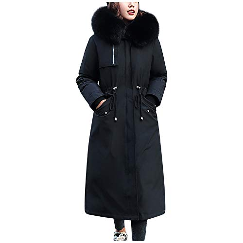 Women's Long Hooded Thickened Down Coat Fuzzy Coats for Women with Hood Open Front Winter Long Cardigan Coat Black