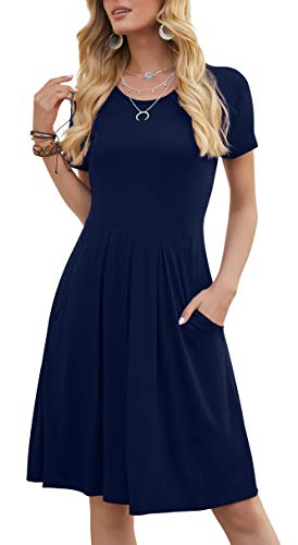 DouBCQ Casual Flowy Pleated Loose Dresses with Pockets