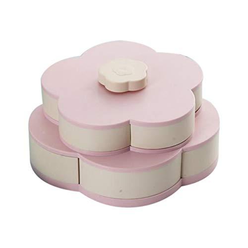 Ballylelly Bloom Snack Box Patrón creativo Giratorio Doble Frutero Doble Caja de dulces Boda Dulces de pétalos Caja de frutas Caja de semillas
