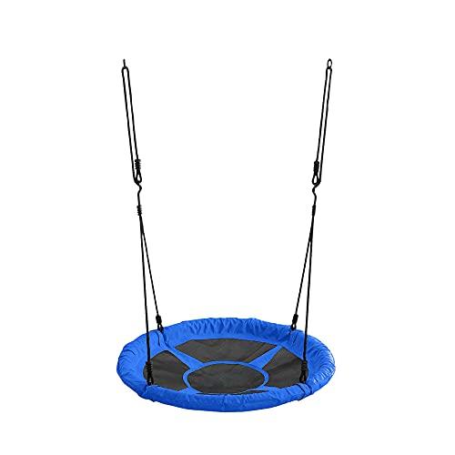Nestschaukel in blau mit Durchmesser 65 cm Kinderschaukel für Garten oder Haus bis 150 kg mit Einer Schaumstoffstruktur ummantelt (blau)
