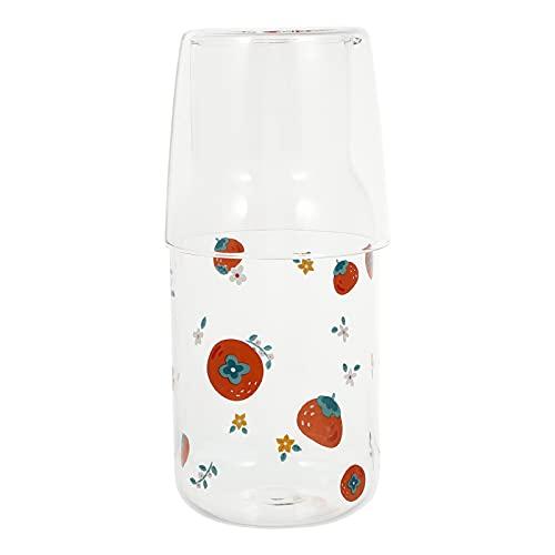 Uonlytech Botellas de agua de cristal, para salsa, jarra, zumo, bebidas, vaso, taza para té, leche, batidos, 550 ml