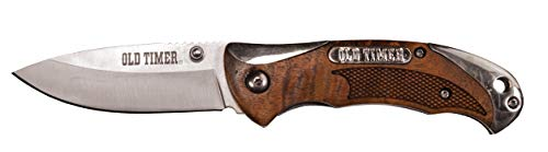 Old Timer 900OT 6.85in High Carbon S.S. Assisted Opening Knife with 2.9in Drop Point Blade and Ironwood Handle for Outdoor, Hunting, Camping and EDC