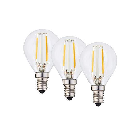 Hellum LED Lampe, LED Filament, E14 Sockel, Warmweiß 2700 K, 2 W, klar, 3er-Pack, 208108