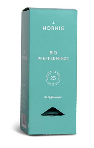 J. Hornig Bio Pfefferminze, Tee im Pyramidenteebeutel, Kräutertee, mit Bio-Zertifikat, 25 Tee-Sachets, Filtermaterial 100% biologisch abbaubar