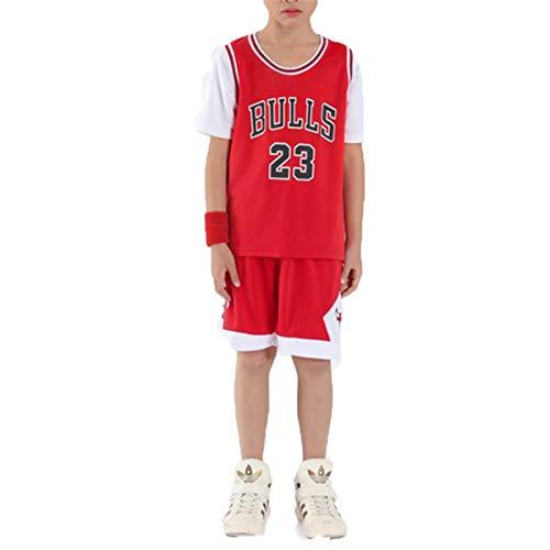 LIZTX Niños Baloncesto Jersey # 23 Michael Jordan Falsa Dos Piezas Jersey Baloncesto Uniforme Manga Corta Traje de Entrenamiento Niños Conjunto de Rendimiento Ropa