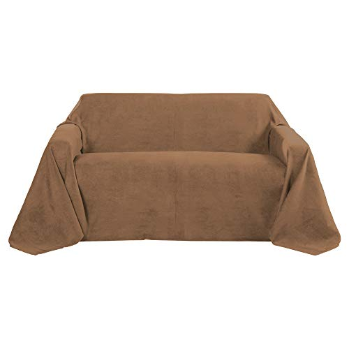 Beautissu Romantica Decke 210x280cm in Wildleder-Optik als Sofa-Überwurf Tagesdecke Plaid in Dunkel-Braun