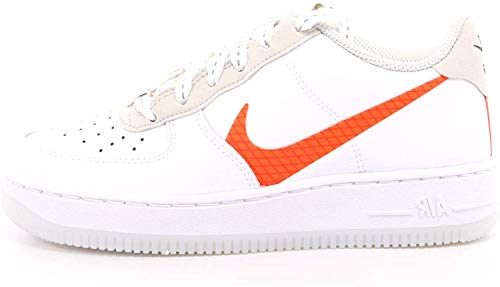 Nike AIR Force 1 LV8 3 (GS) Basketball Shoe, White/Total Orange-Summit White-Black, 39 EU