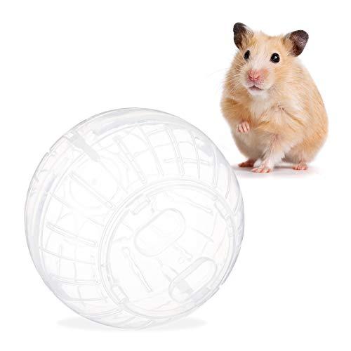 Relaxdays Hamsterball, Laufkugel für Hamster & Mäuse, Bewegung, Nagerspielzeug zum Laufen, Kunststoff, 14cm, transparent