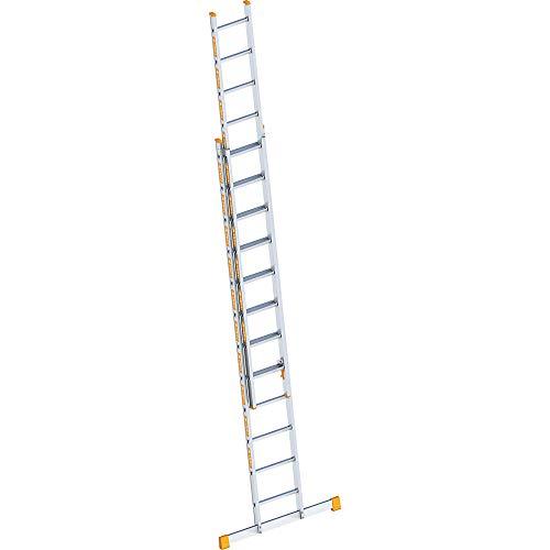 Layher 1035012 Schiebeleiter Topic 12, Aluminiumleiter 2x12 Sprossen, zweiteilig, ausziehbar, Länge 6.00 m