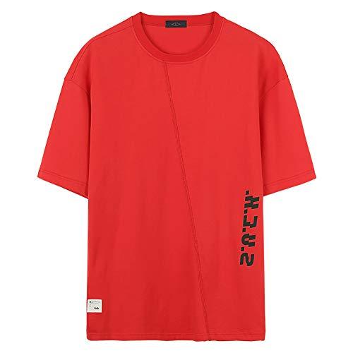 HA73 Elegante Camiseta de Manga Corta con Diseño de Empalme y Wear Your Fashion and Stick to Your Taste Sudadera Patrón Hip Hop,Red,XL