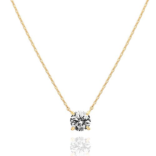 PAVOI 14K Gold Plated Swarovski Crystal Solitaire 1.5 Carat (7.3mm) CZ Dainty Choker Necklace | Yellow Gold Necklaces for Women
