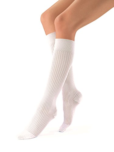 JOBST 120330 soSoft, Knee High Compression Socks, Ribbed, 30-40 mmHg, White, XL