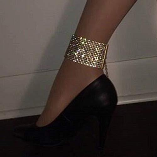 Yean Gold Fußkettchen Kristall Knöchel Armband Funkelnde Fußkette Modeschmuck für Frauen und Mädchen(1Pcs)