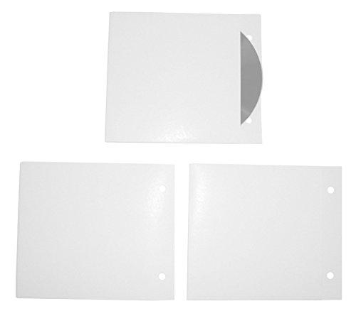 50 CD Hüllen aus Karton zum Abheften, CD Kartonstecktaschen (Papphüllen) mit Abheftlochung weiß glänzend gestrichen, Made in Germany