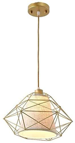 Lámpara de techo Candelabro moderno Marco de jaula de metal en forma de diamante Candelabro decorativo Pantalla de tela blanca Personalidad Candelabro creativo Altura ajustable Max 60W ático Cafe Ilum