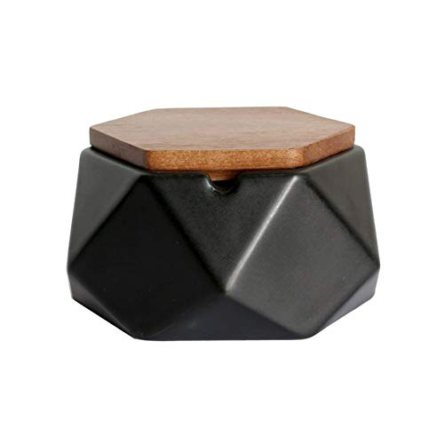 AMITD Aschenbecher Zigarre Keramik für Draussen Premium Dekoration Wohnung Klein Eckig,Ton Aschenbecher mit Deckel,Dekoschwarz